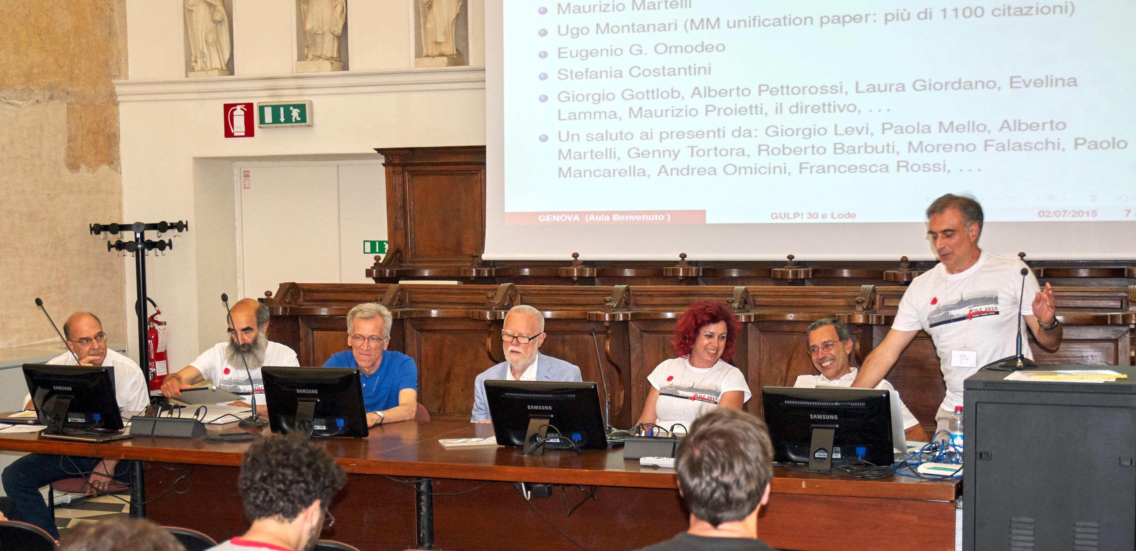 From left to right, Giovanni Adorni, Eugenio Omodeo, Gianfranco Rossi, Ugo Montanari, Stefania Costantini, Maurizio Martelli, and Agostino Dovier